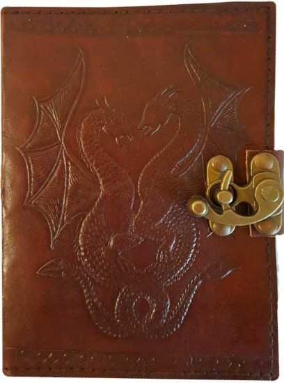 DOUBLE DRAGON LATCH LEATHER BLANK BOOK OF SHADOWS