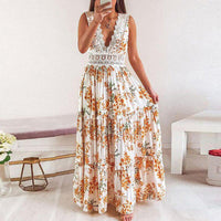 Boho Summer Sexy Embroidery V-neck Lace Patchwork Long Dress