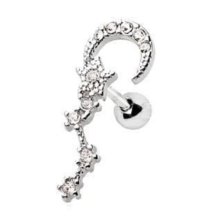 Stainless Steel Moon and Star Sign Cartilage CZ - 16G