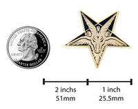 Baphomet Head Satan Satanic Sabbatic Goat Pentagram Occult Enamel Pin