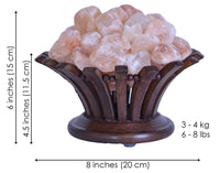 Salt Lamp in Rosewood Flower Shape Basket