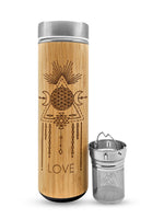 17.9 oz LOVE Premium Insulated Bamboo Water Bottle
