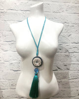 Turquoise Tassel Long Necklace