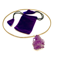 Purple Amethyst Cluster Pendant and Necklace
