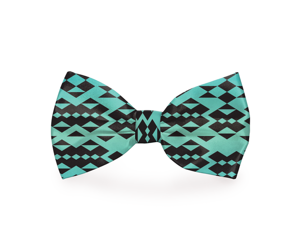 """My Tribe"" Tribal Dog Bow Tie Turquoise"