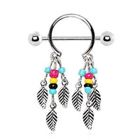 Stainless Steel Multi-Colored Beads Feather Nipple - 14G