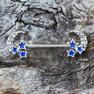 Stainless Steel Jeweled Moon and Star Nipple CZ -14G