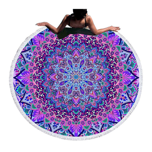 Bohemian Round Beach Towel Blue and Purple Tassel