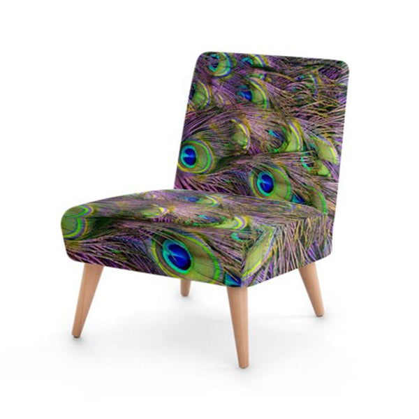 Peacock Feather Print Accent Occasional Chair