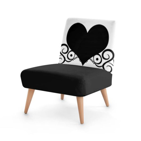Black And White Love Heart Accent Occasional Chair