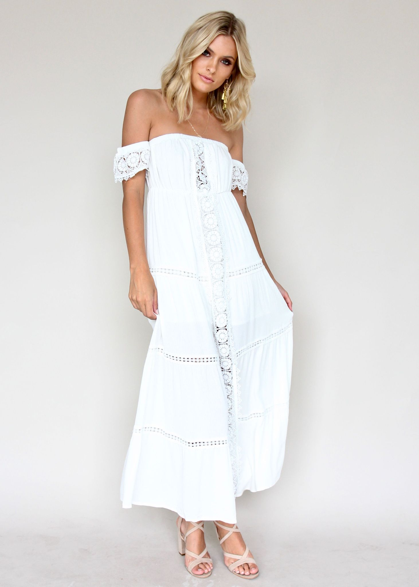 Roselle Off Shoulder Dress - White
