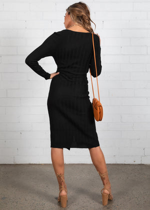 Selah Wrap Knit Midi Dress - Black