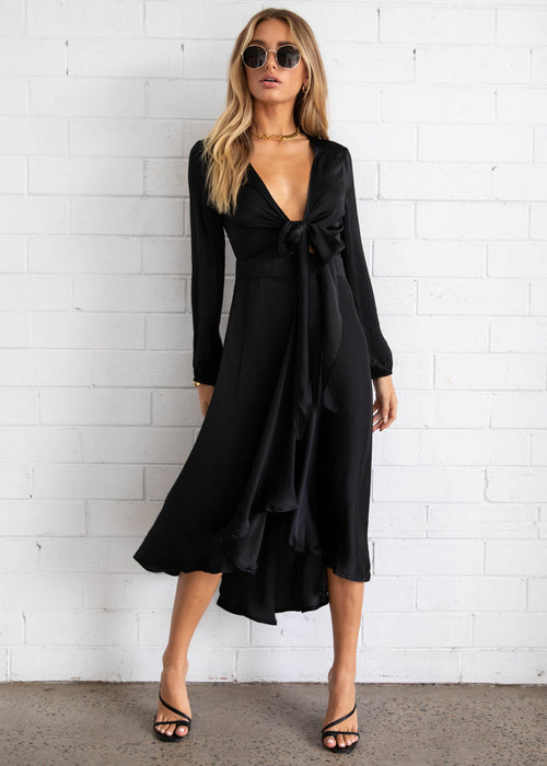 Namisha Hi-Lo Midi Dress - Black