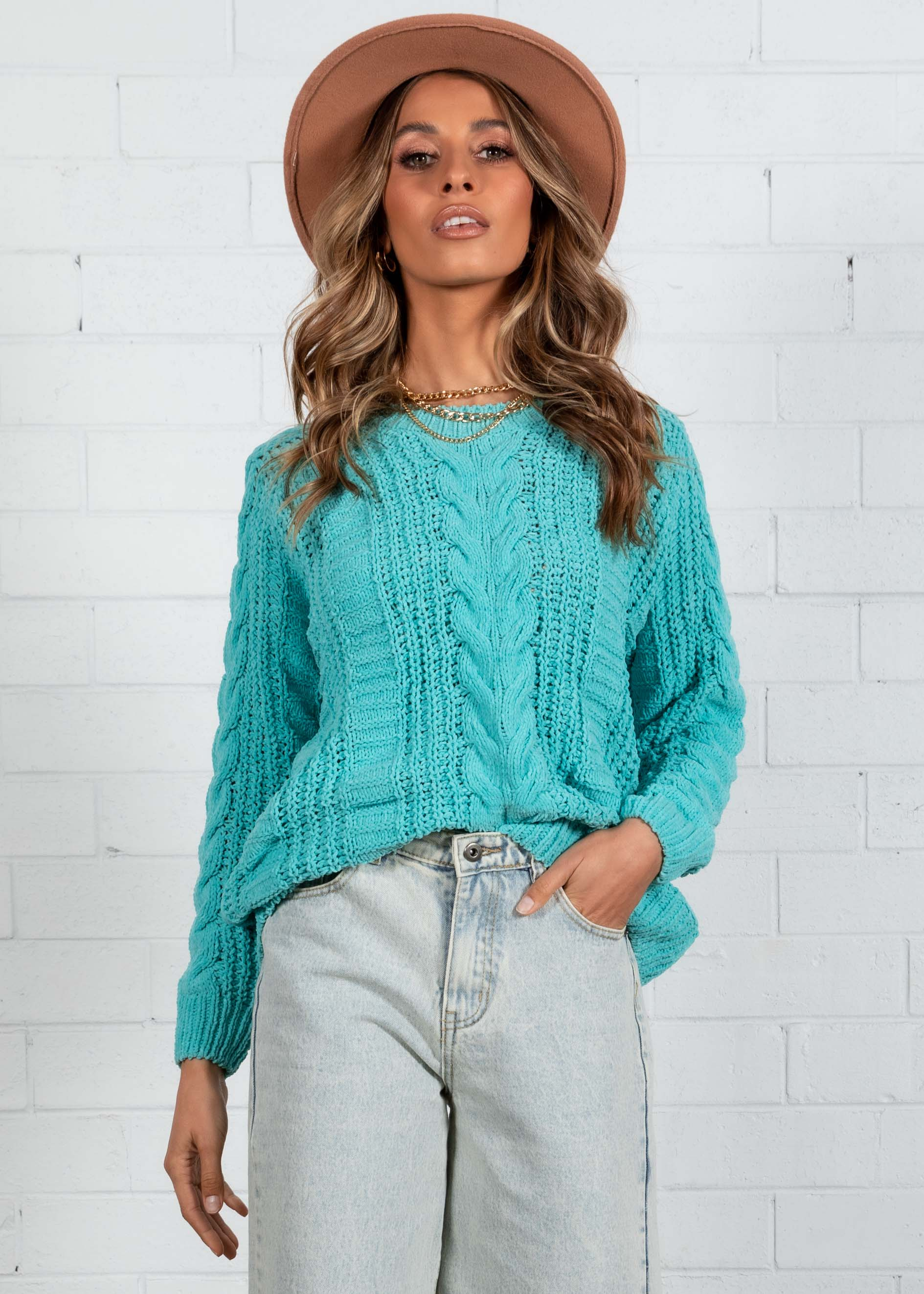Simmie Cable Sweater - Turquoise