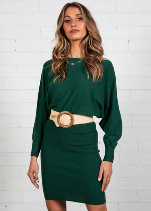 Arriane Batwing Knit Dress - Emerald