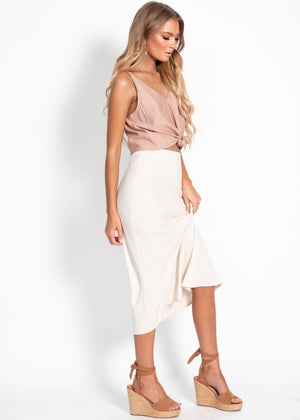 Asher Midi Skirt - Natural