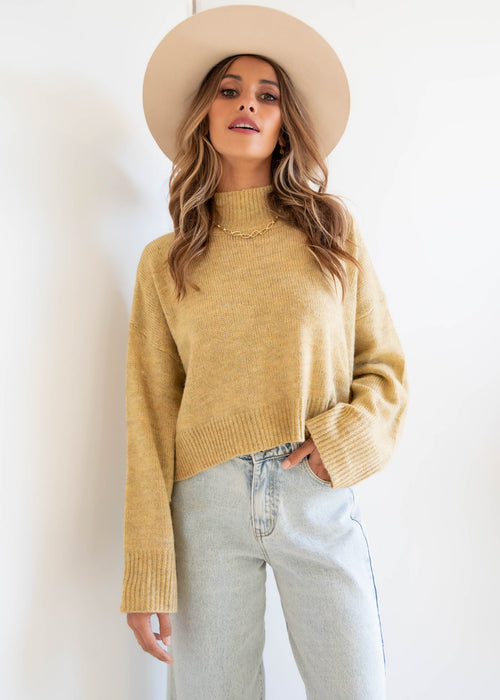 Emely Crop Sweater - Mustard