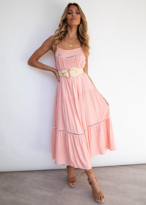 Conday Midi Dress - Peach Polka