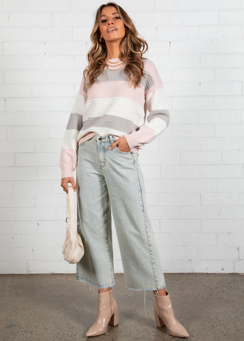 Pressure Off Sweater - Blush Stripe