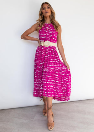 Everia Midi Dress - Magenta Cali
