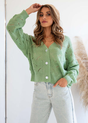 Stepping Out Cardi - Mint