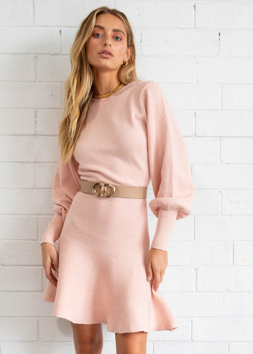 Heart-throb Knit Dress - Blush