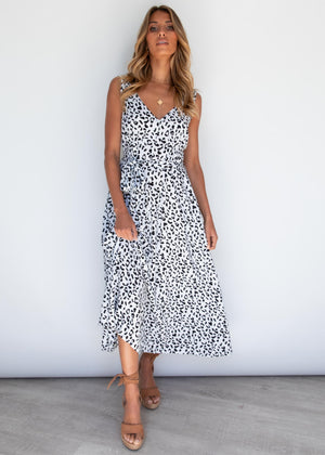 Oaklynn Midi Dress - Snow Leopard