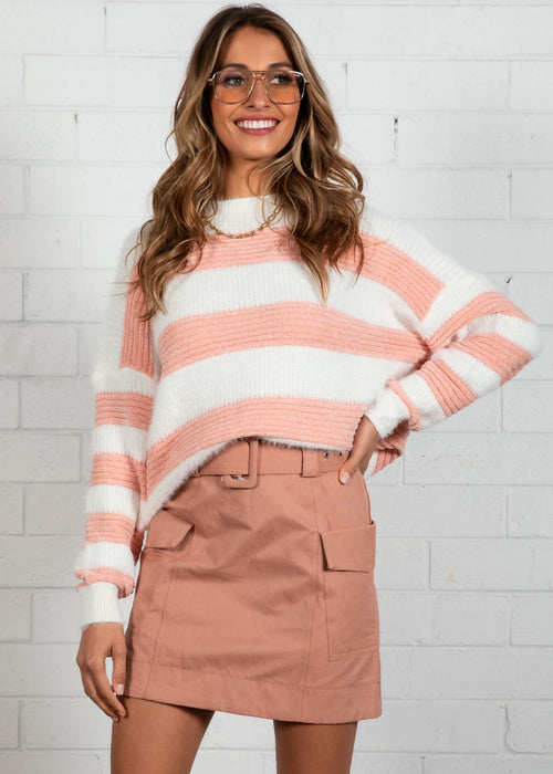 Run With Me Sweater - Rose Stripe