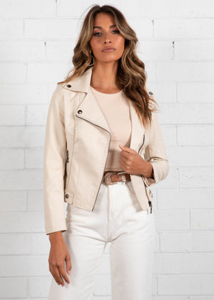 Galion Leather Look Jacket - Cream