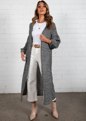 Moving Forward Longline Cardi - Charcoal