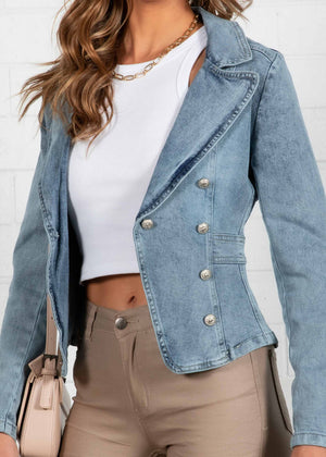 Flinder St Denim Jacket - Faded Blue