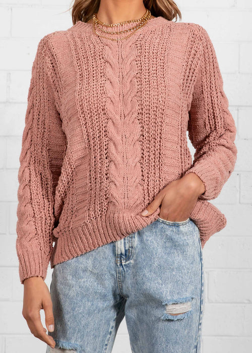 Simmie Cable Sweater - Peach
