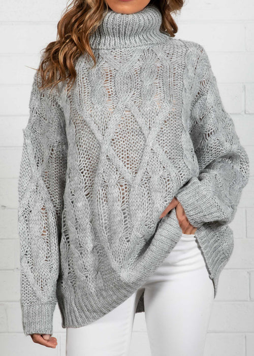 Tainted Roll Neck Sweater - Grey