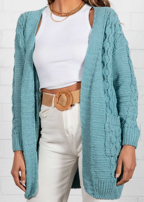 Palin Cable Cardi - Dusty Teal