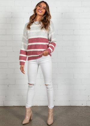 Light Hearted Sweater - Mulberry Stripe