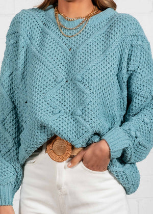 Winter Nights Sweater - Dusty Teal