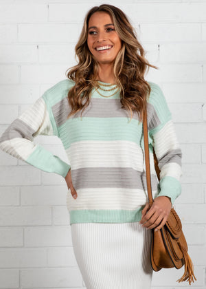 Pressure Off Sweater - Mint Stripe