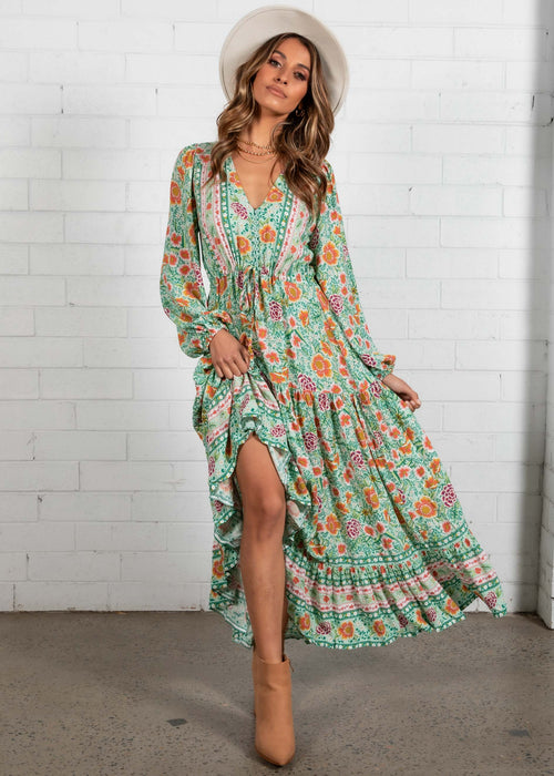 Jewel Mountain Maxi Dress - Melon Mint