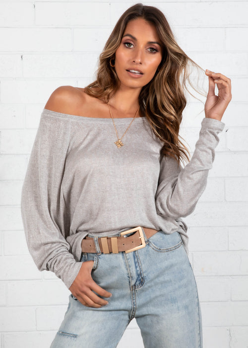 Talk Back Knit Top - Grey Fleck
