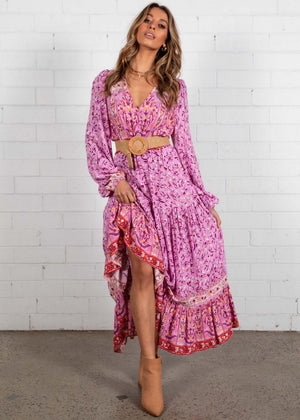 Jewel Mountain Maxi Dress - Lilac Floral