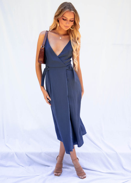 Sunset Boulevard Midi Dress - Navy