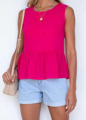 Velour Blouse - Magenta