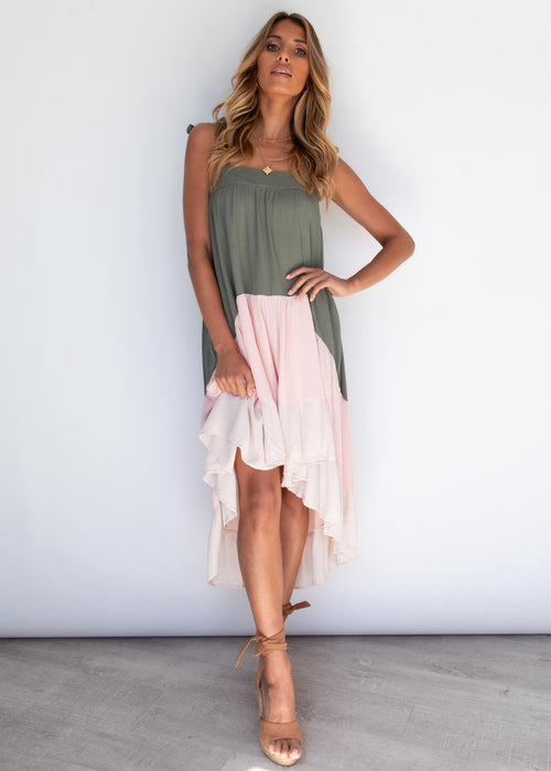 Summer Air Midi Dress - Khaki Splice