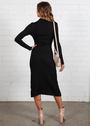 Savana Knit Midi Dress - Black