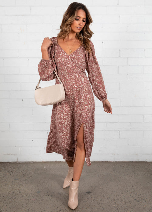 Aubree Midi Dress - Mauve Leopard