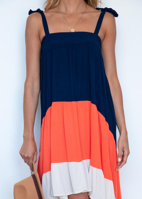 Summer Air Midi Dress - Navy Splice