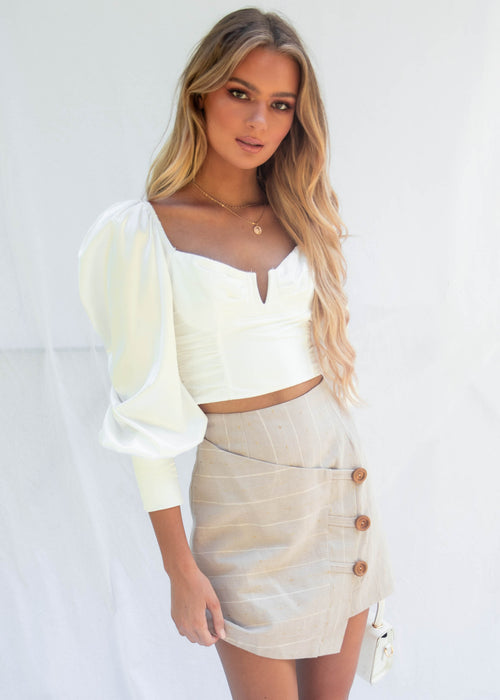 Love Hard Crop Blouse - White