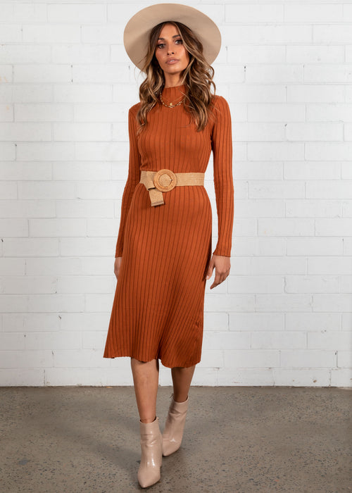 Savana Knit Midi Dress - Rust