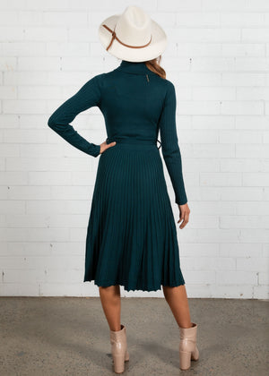 Talah Rollneck Knit Midi Dress - Teal