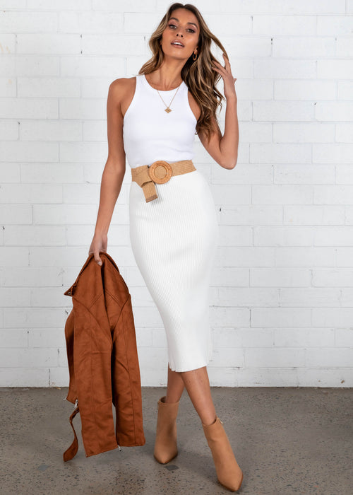 Ciara Midi Skirt - White
